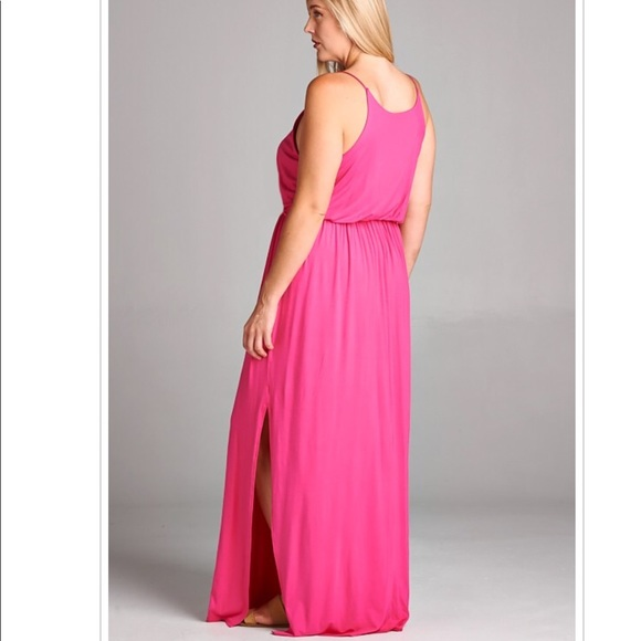 Hot Pink Plus Size Stretch Maxi Summer Dress NWT